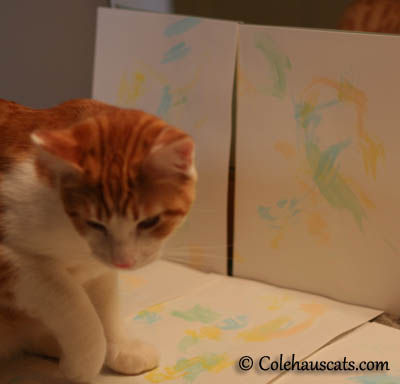 Quint finishing up color #4 on his watercolor art - 2013 © Colehaus Cats