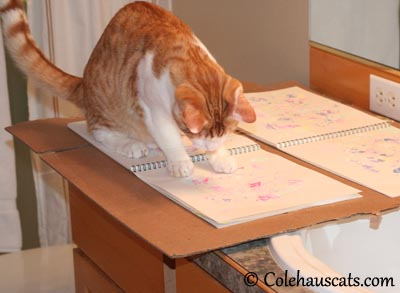 Quint creates a rose garden painting - 2013 © Colehaus Cats