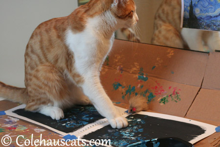 Quint checking Mr. Van Gogh's version - 2013 © Colehaus Cats