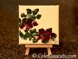 Quint's Holly Berries on 4 inch x 4 inch canvas w/easel - 2013 © Colehaus Cats