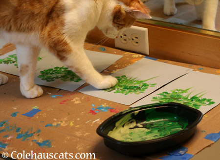 Quint painting leaves - 2014 © Colehaus Cats
