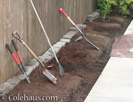 Digging out an old flowerbed - 2016 © Colehaus.com and Colehauscats.com